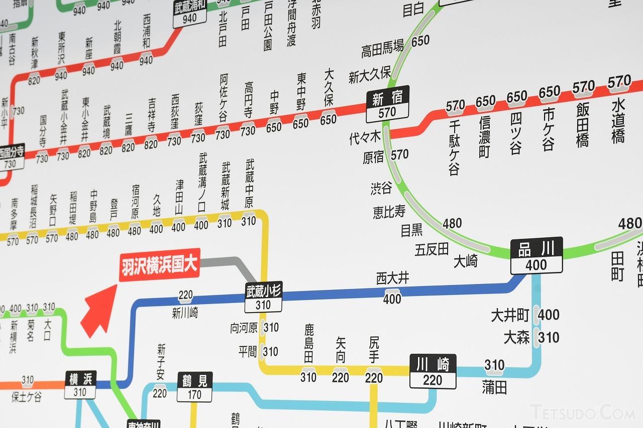 羽沢横浜国大駅のJR線区間運賃表