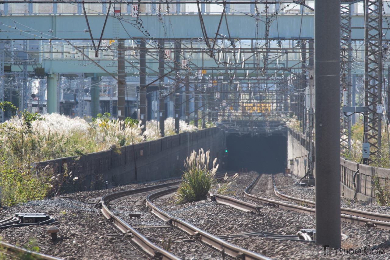 京急線の生麦駅~花月園前駅付近で地上に出る東海道貨物線