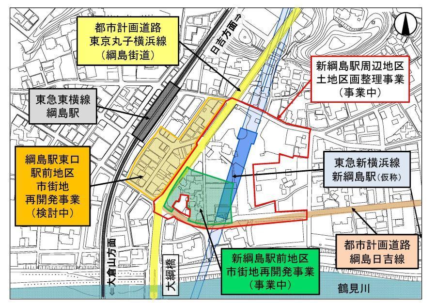 綱島駅・新綱島駅周辺で進められる再開発事業の計画図(画像:横浜市都市整備局)