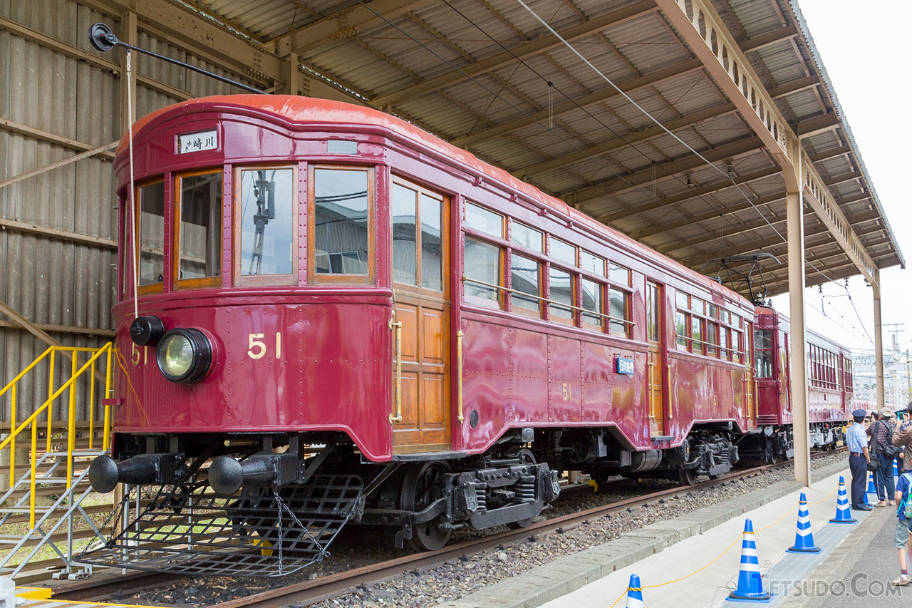 路面電車スタイルの京浜電気鉄道51号形。こちらも久里浜工場に1両が保存されています