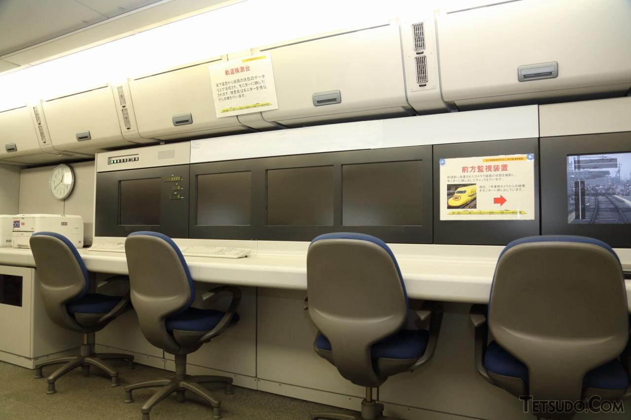 ドクターイエローの車内。写真の検測室では、検測状態を検測員がリアルタイムで確認することができます