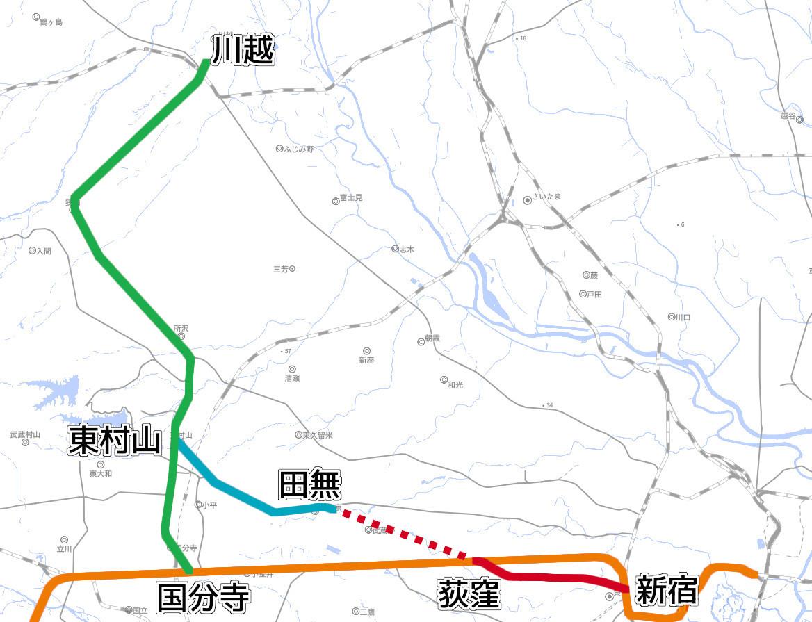 国分寺~川越間の路線を開業させた川越鉄道(黄緑)。甲武鉄道(橙)と直通していましたが、国有化により直通列車は廃止。西武軌道(赤)を買収し、東村山~田無間(水色)を建設することで、都心への直通ルート構築を目指しました(国土地理院「地理院地図Vector」の淡色地図に加筆)
