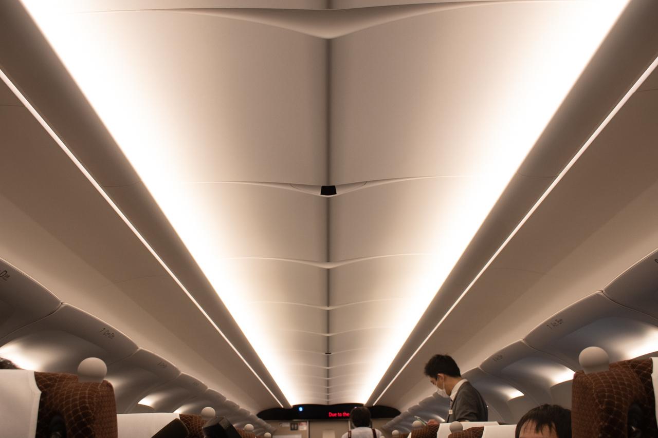 【N700S】間接照明となった天井。中央に見える黒いものは防犯カメラです