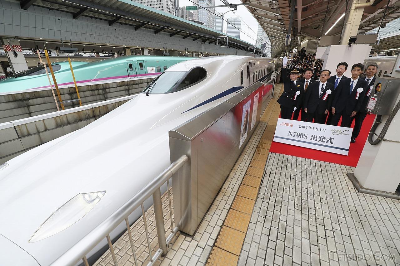 7月1日にデビューしたN700Sの出発式(画像:JR東海)