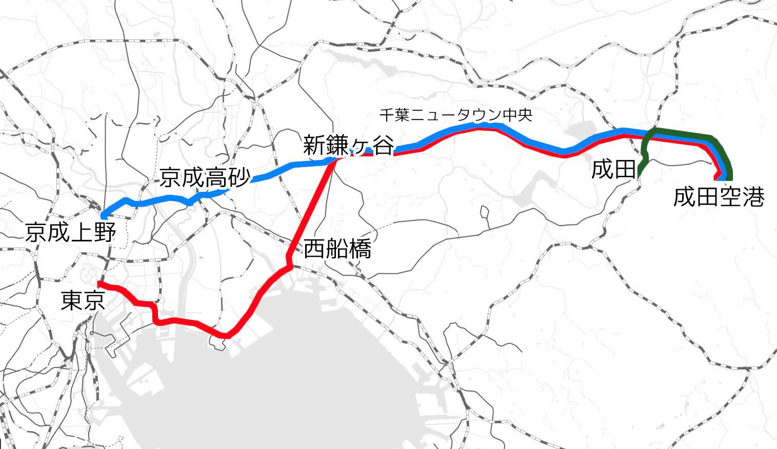 京葉線や北総線を経由するA案(赤)、京成線と北総線を経由するB案(水色)、成田駅から接続するC案(緑)の3案が比較・検討されました(国土地理院「地理院地図Vector」の淡色地図に加筆)
