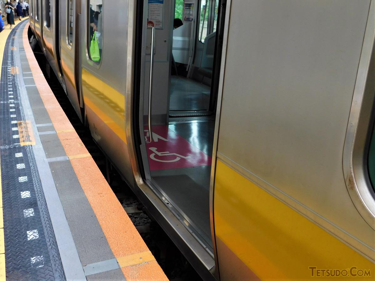 列車とホームの隙間の例