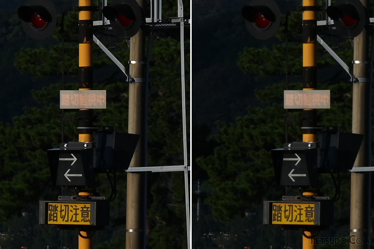 F22で撮影した写真。左が回折補正ON、右が回折補正OFF