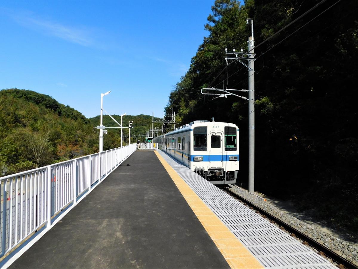 みなみ寄居駅を通過する上り列車。駅の東側は木々が覆い、西側のホーム下には駅にアクセスする道路などがあります