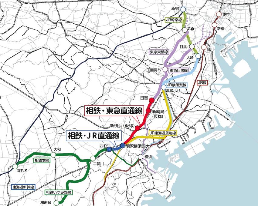 相鉄・東急直通線と相鉄・JR直通線の路線図(画像:鉄道・運輸機構)
