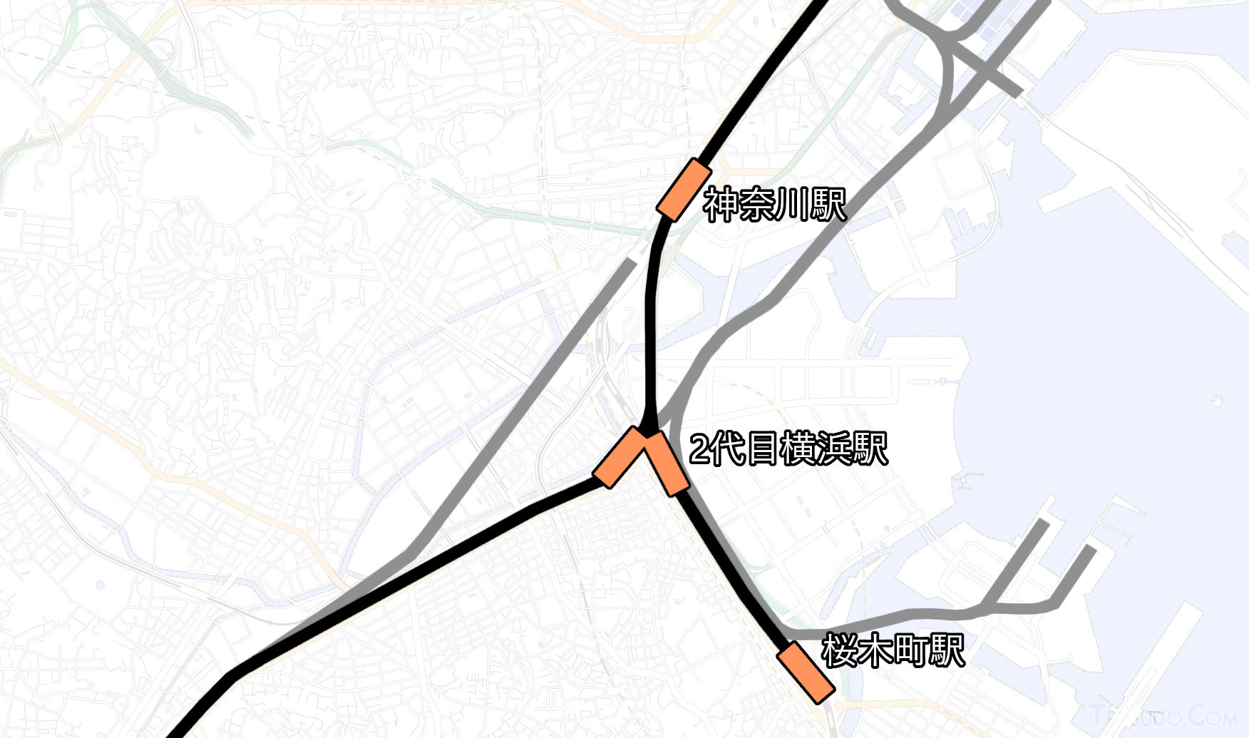 1920年ごろの位置関係。貨物線は灰色で、貨物駅は省略(国土地理院「地理院地図Vector」の淡色地図に加筆)