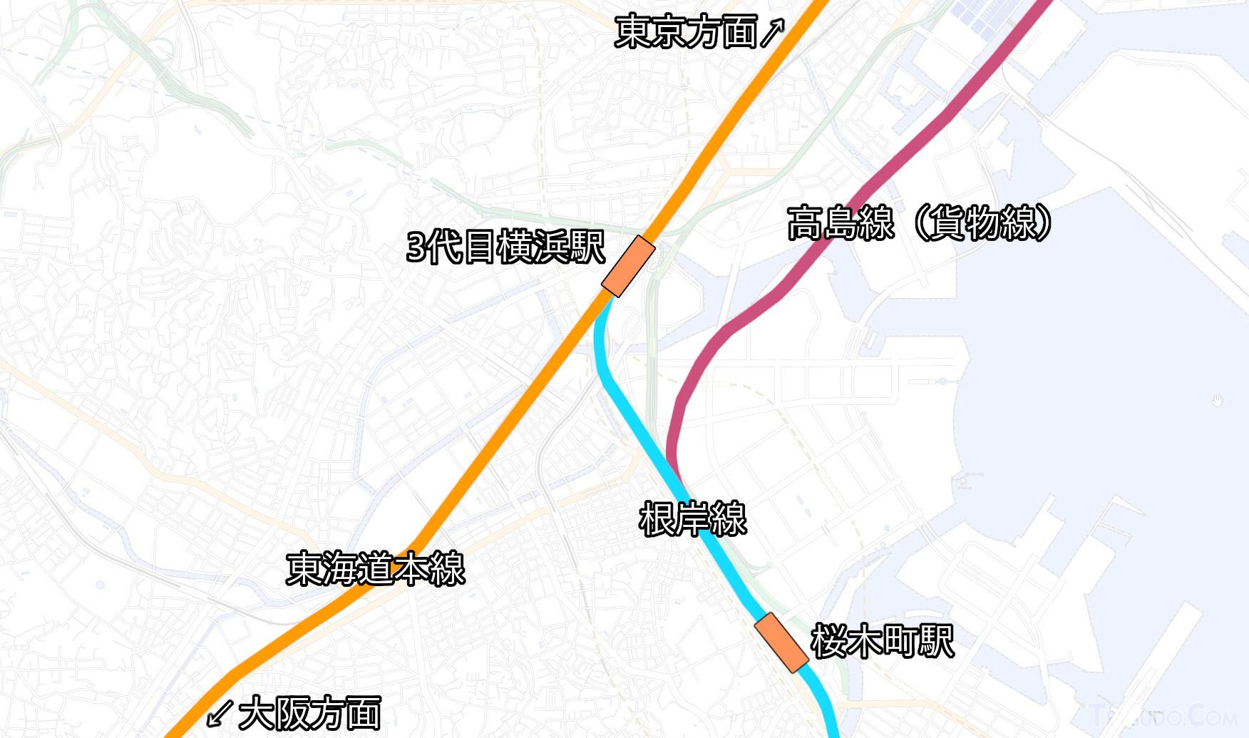 2021年現在のJR線の位置関係(国土地理院「地理院地図Vector」の淡色地図に加筆)