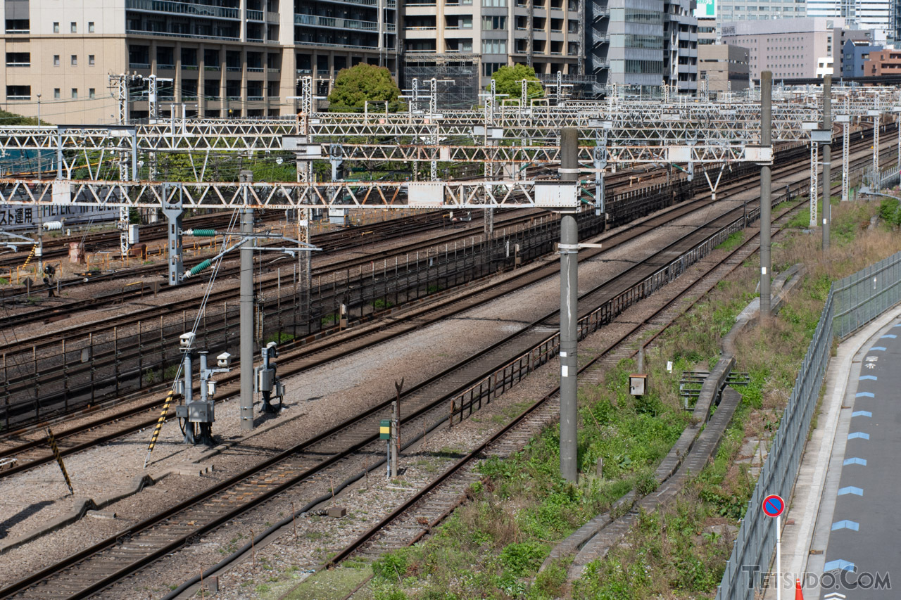 田町駅付近。一番手前が大汐線の線路です
