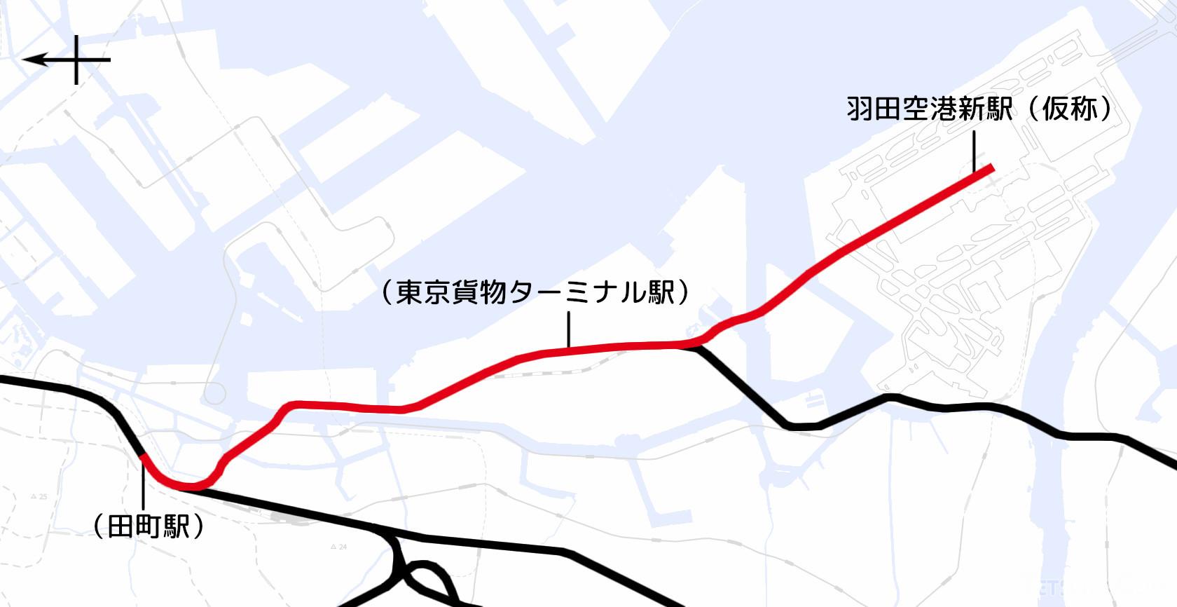 羽田空港アクセス線の計画区間(国土地理院「地理院地図Vector」の淡色地図に加筆)