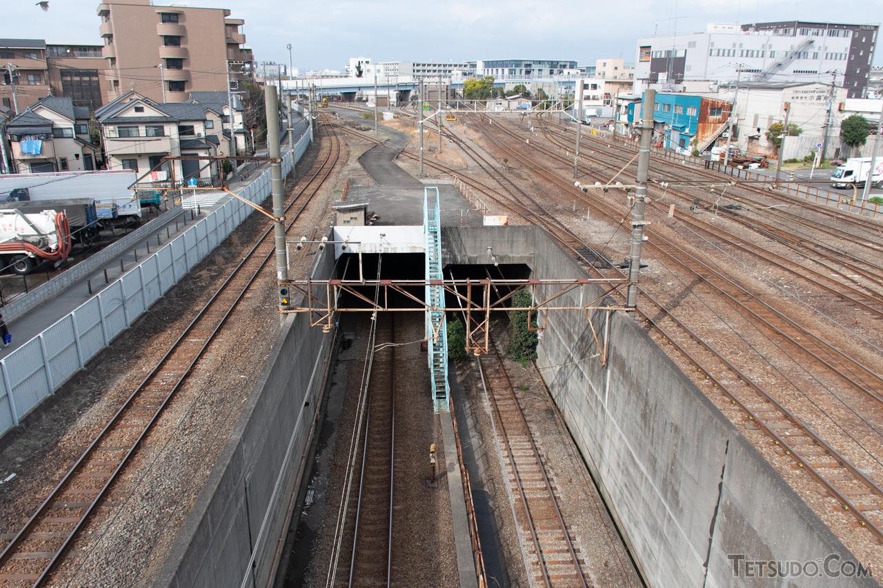 駅の北側を通る跨線橋からは、東京貨物ターミナル方面へ向かうトンネルが見られます