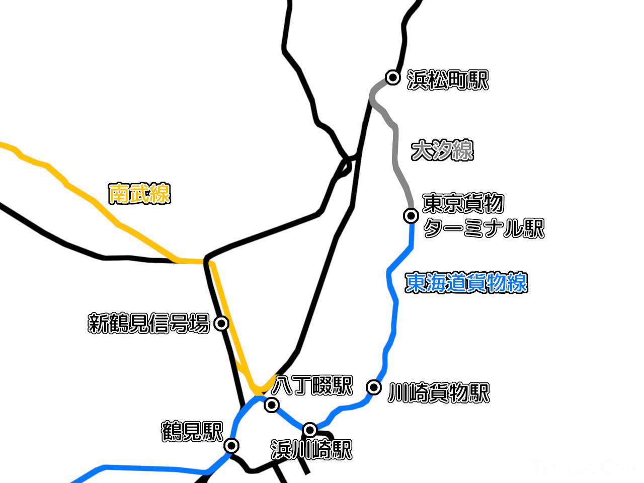 東海道貨物線浜松町~鶴見間と関係路線