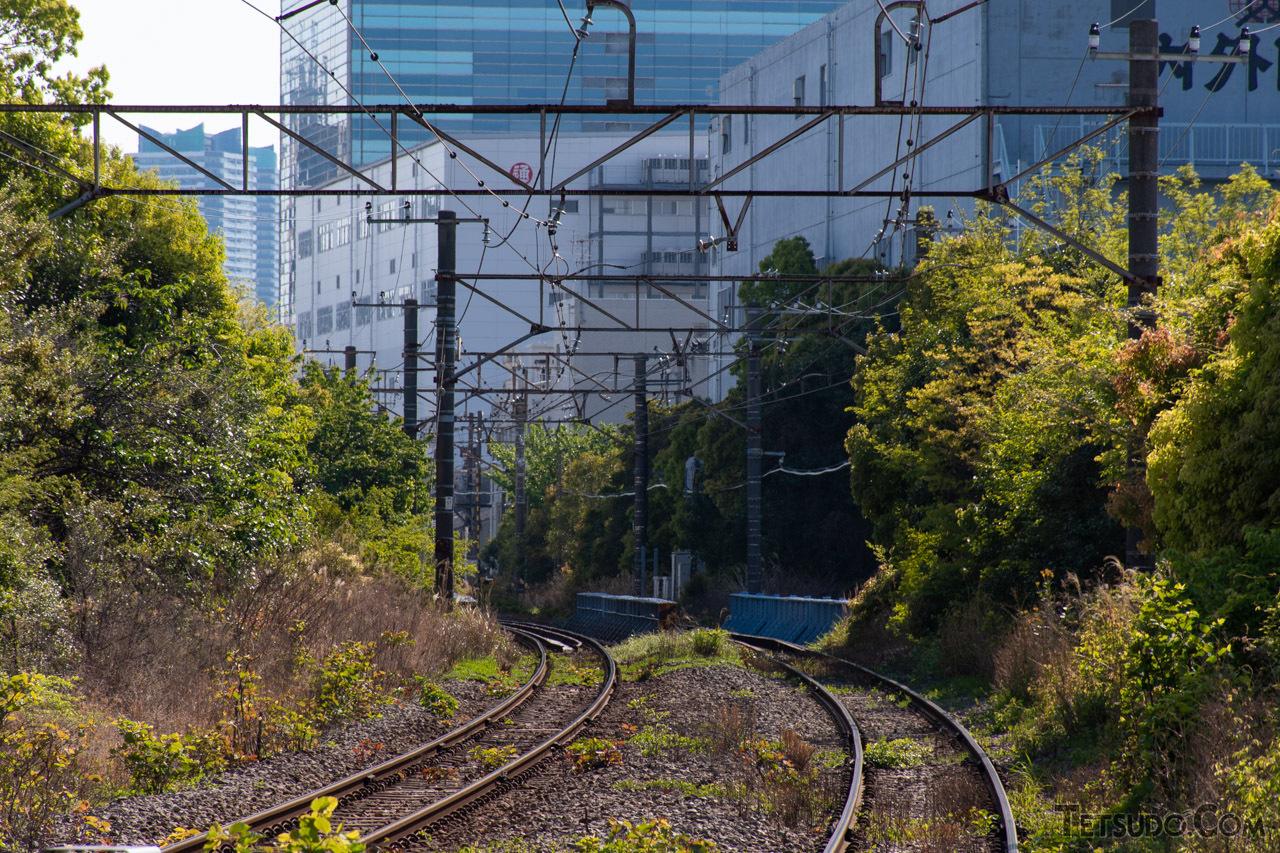 時折現れる線路との交差道路から見た高島線