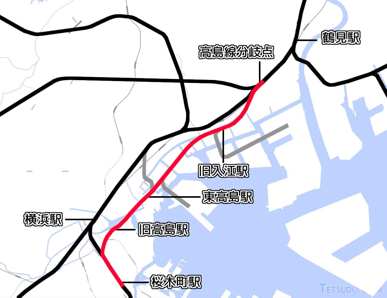 高島線の路線図(国土地理院「地理院地図Vector」の淡色地図に加筆)