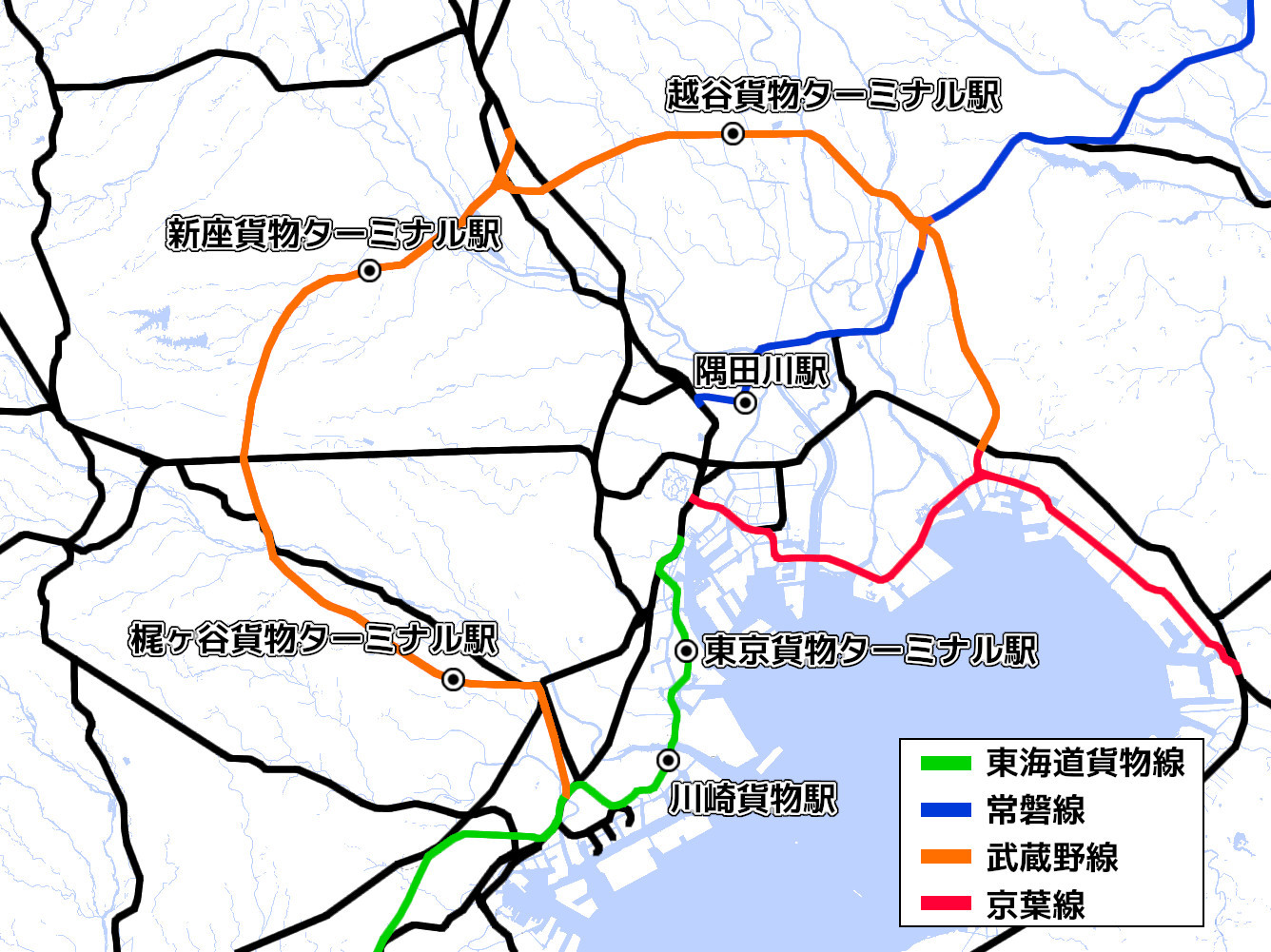 東京の主要貨物線と現役の貨物駅(国土地理院「地理院地図Vector」の淡色地図に加筆)