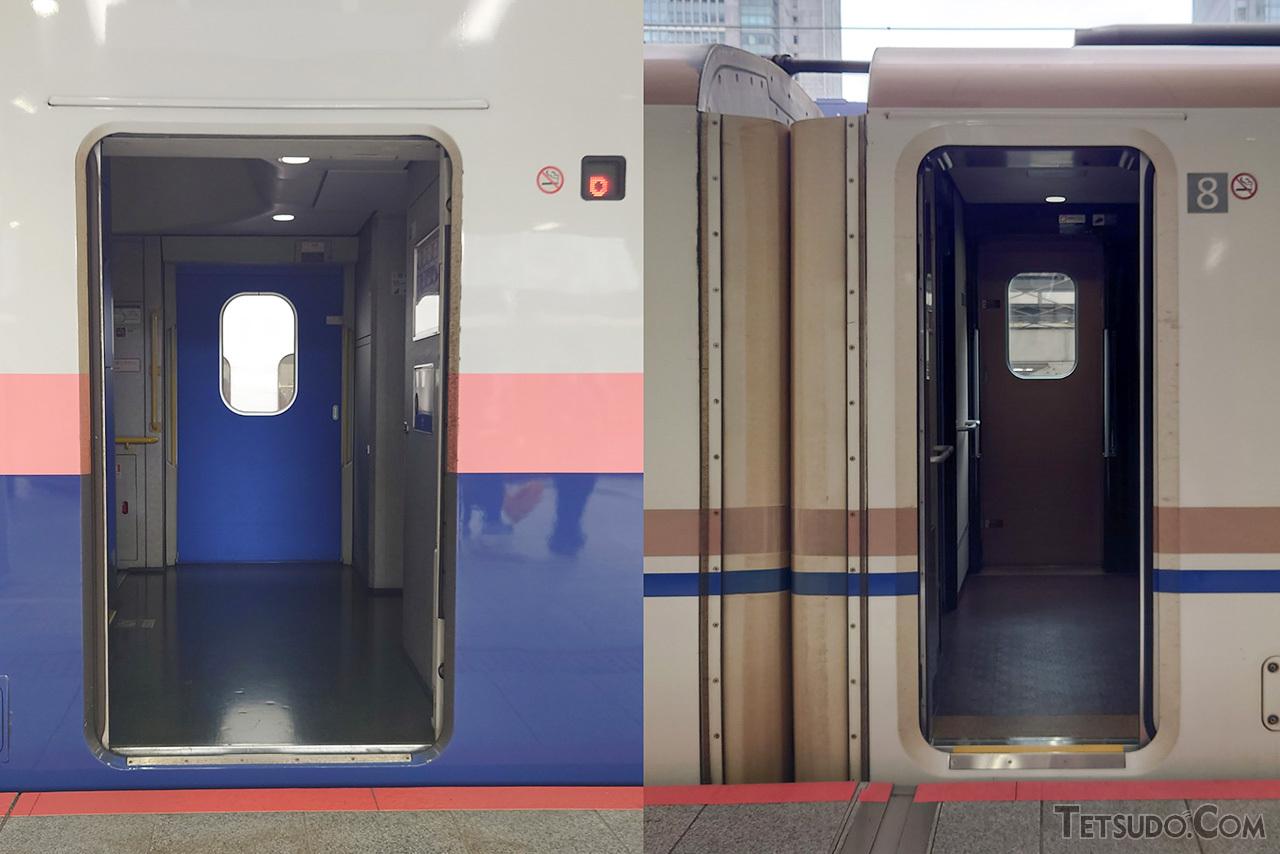 他の形式(右)よりも乗降扉が広いE4系(左)
