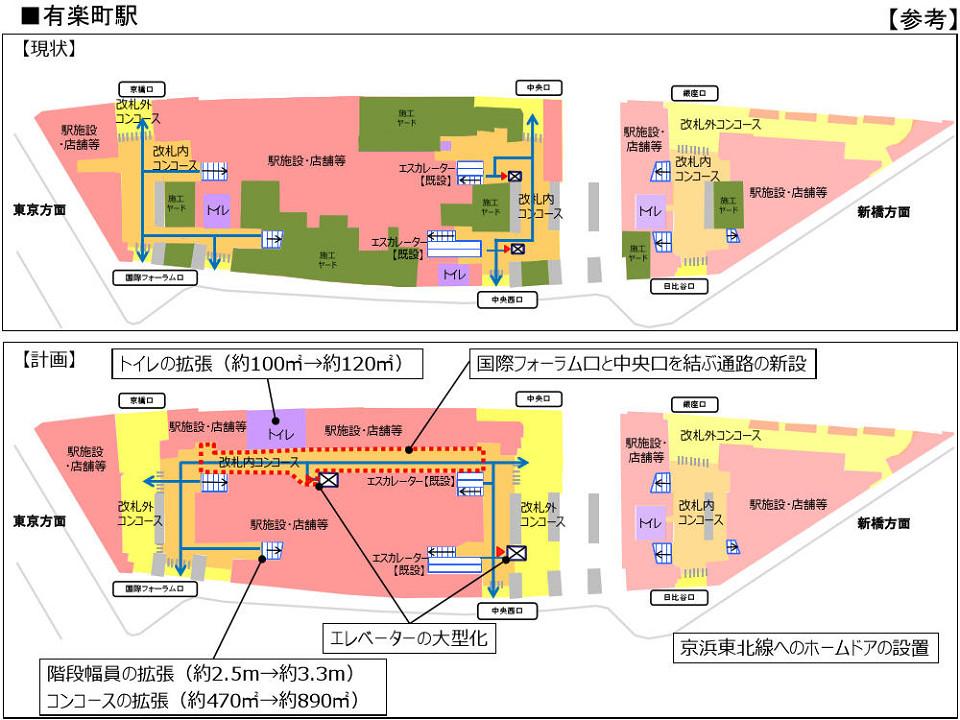 有楽町駅の構内図[2017年6月発表のJR東日本プレスリリース(PDF)]