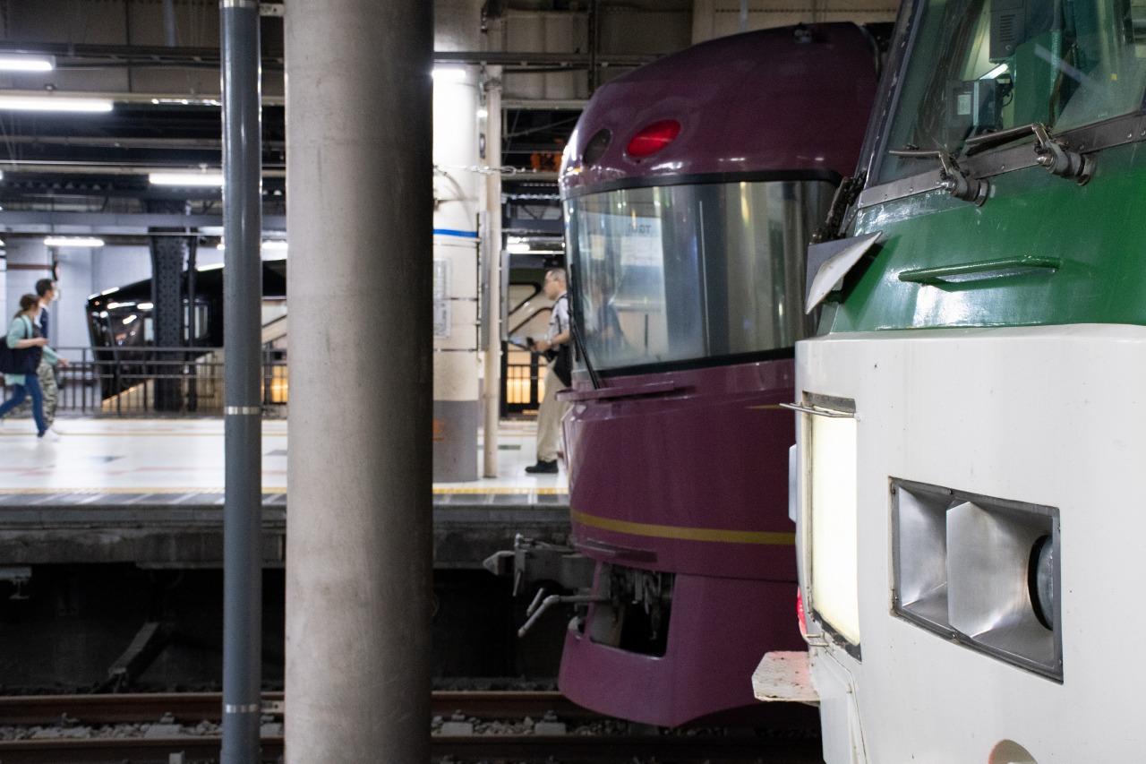 上野駅では、回送列車としてやってきた185系や、クルーズトレイン「四季島」との並びが見られた。