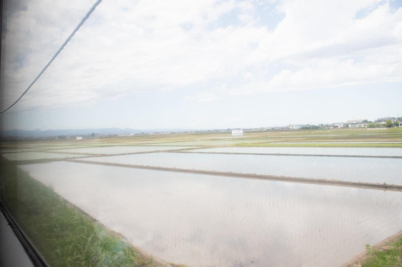 のどかな田園地帯を走る列車。遠くには秩父の山々も望める。