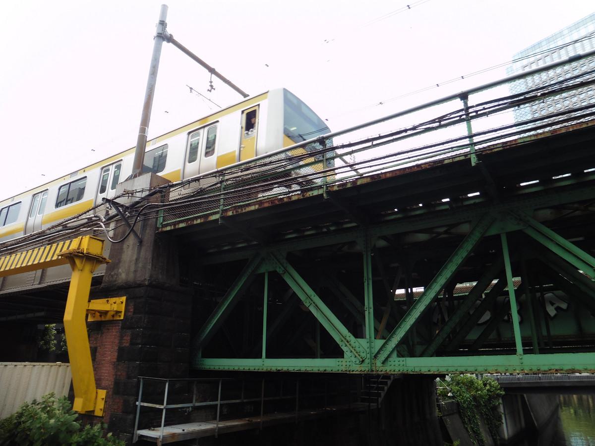 小石川橋通り架道橋と、水道橋駅に向かう総武線の列車。総武線側2本の橋桁が1904年に架けられたものです。川に架かる部分は、三角形構造が特徴のトラス橋(分類上は「ワーレントラス橋」)が採用されました。