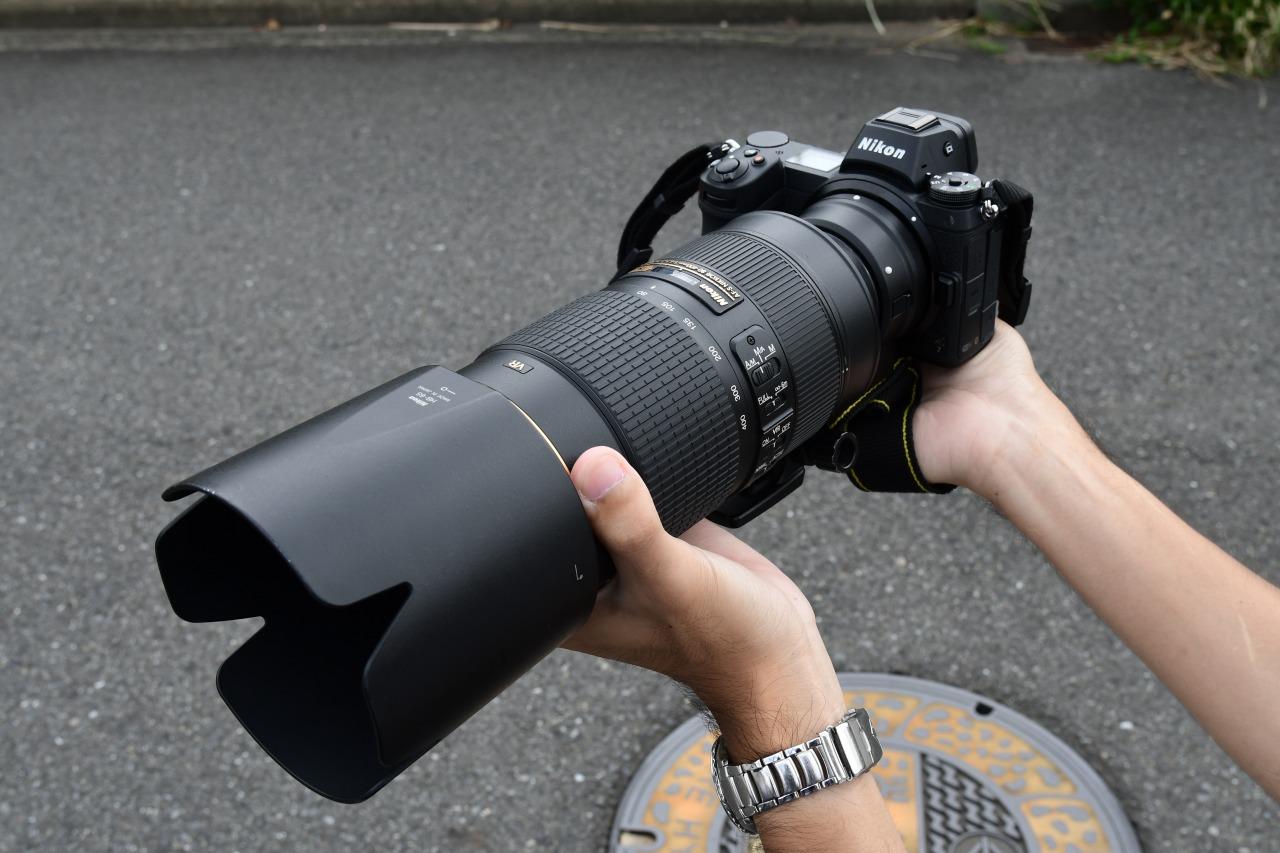 Z7にFTZを介してAF-S NIKKOR 80-400mm f/4.5-5.6G ED VRを装着した状態