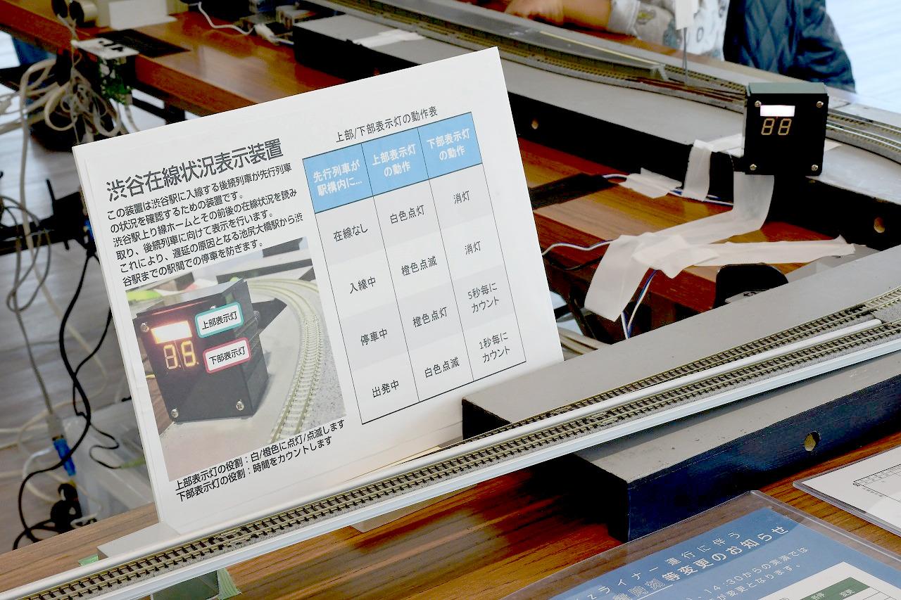 渋谷駅手前に設置された「渋谷在線状況表示装置」。実際の路線にも設置されている装置を、模型でも再現していました