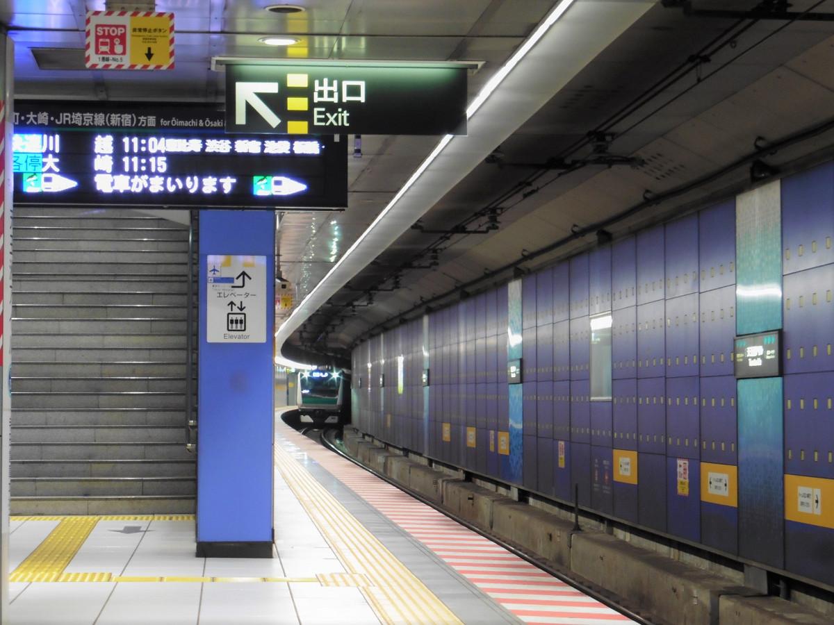 りんかい線の天王洲アイル駅ホーム。東京テレポート~天王洲アイル間の延伸とともに開業しました。品川シーサイド駅同様、ホームは地下3階、改札階は地下1階にあります。