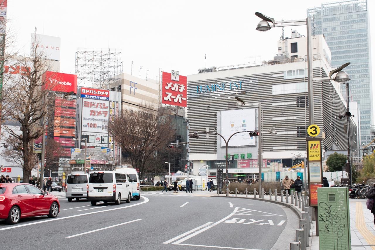 上の写真より西武新宿駅寄りに引いた位置から。写真右側の歩道上に、西武線のホームが建設される予定でした