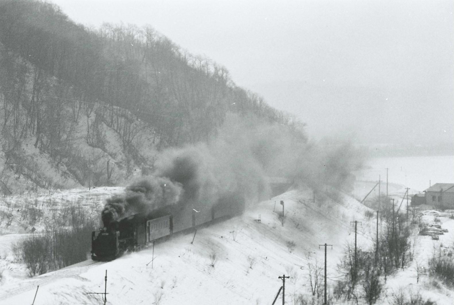 室蘭本線の栗丘駅付近を走るSL旅客列車。そのスタイルの美しさから、「貴婦人」とも呼ばれたC57形がけん引しています。駅を出発した直後なのでしょうか、黒煙を力強く吐き出しています。1974年の撮影です。