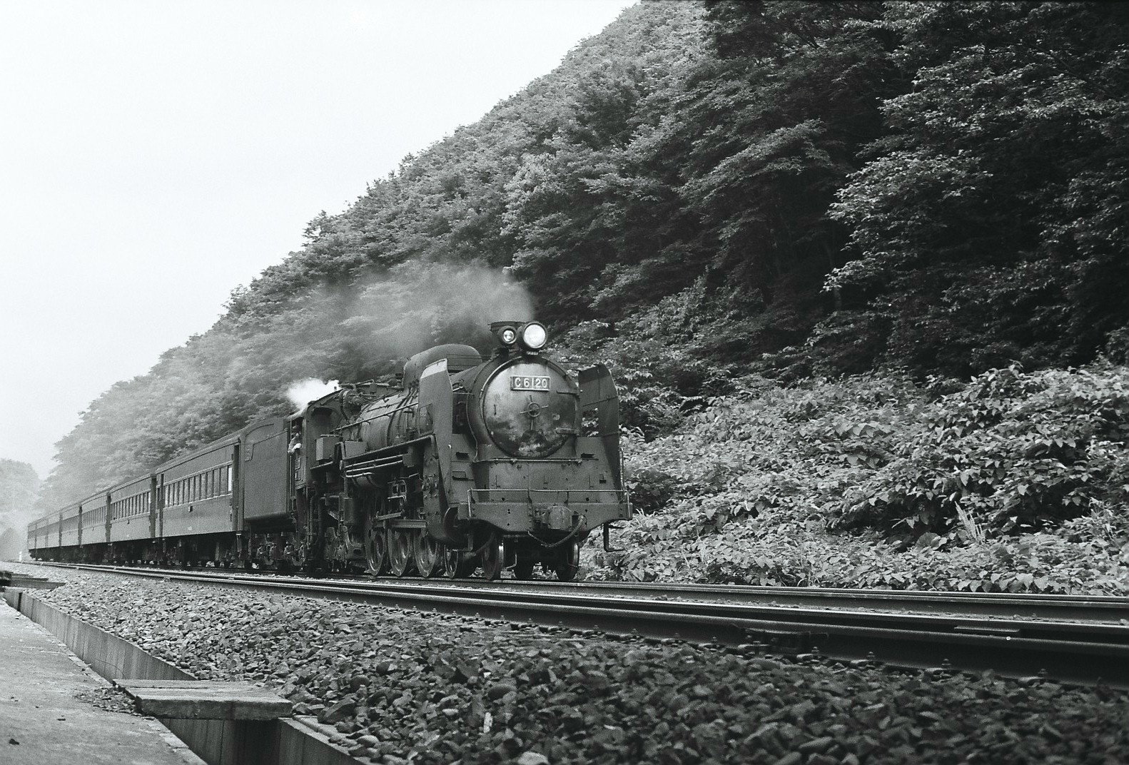 奥羽本線で客車列車をけん引するC61形20号機。1971年7月の撮影です。D51のボイラーを流用して1949年に落成した同機は、青森機関区や仙台機関区に配置され、東北地方の旅客列車に充当されていました。C61-20はその後、写真の撮影直後である9月に宮崎機関区へと転属し、2年後の1973年に廃車されます。1974年より群馬県伊勢崎市で保存された後、2011年に動態保存車として復活。以来、群馬県を中心としたJR東日本管内の各路線で、SL列車の先頭に立って大活躍しています。