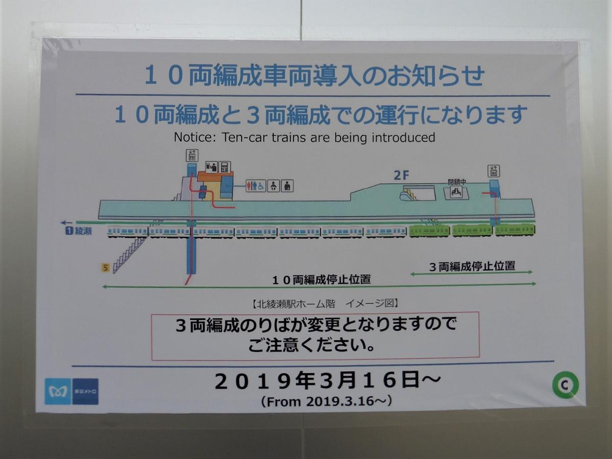 ホーム壁面には、10両化に関する案内が掲示されていました。3月16日以降、北綾瀬駅では10両編成と、従来同様の3両編成の列車が発着しています。