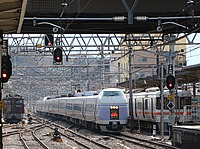 train, track, building, outdoor, transport, station, pulling, traveling, railroad, several