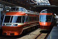 building, transport, station, outdoor, platform, train, orange, pulling