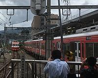 train, outdoor, track, person, platform, traveling, railroad