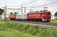 grass, sky, train, outdoor, track, transport, red, traveling, engine, railroad