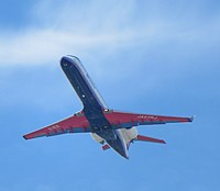 sky, outdoor, flying, plane, airplane, aircraft, transport, air, blue, jet, cloudy, clouds, day