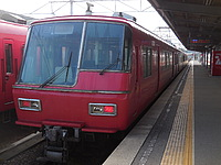 platform, station, transport, outdoor, red, track, pulling, train, stopped