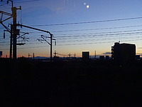 sky, outdoor, light, sunset, pylon, distance, power line, day
