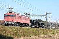 grass, sky, outdoor, track, transport, train, red, traveling, dirt, engine, railroad, locomotive, cargo, rail