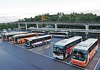 outdoor, sky, road, bus, street, city, way, vehicle, busy, highway, transit