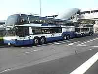 road, sky, outdoor, bus, parked, highway, transit, man