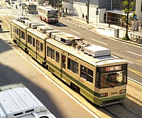 outdoor, road, tram, vehicle, land vehicle, transport, street, streetcar, train, public transport, city, bus, busy, highway