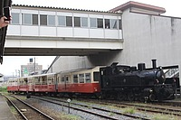 train, outdoor, building, track, sky, railroad, transport, rail, locomotive, land vehicle, vehicle, station