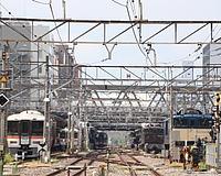 train, track, sky, rail, station, land vehicle, vehicle, locomotive, railroad, traveling, several