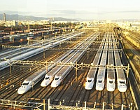 outdoor, sky, train, vehicle, road, several, highway