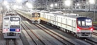 railroad, rail, outdoor, train, station, locomotive, vehicle, transport, land vehicle, several