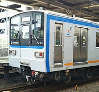 train, track, transport, land vehicle, vehicle, outdoor, station, blue, platform, railroad, public transport, rolling stock, silver